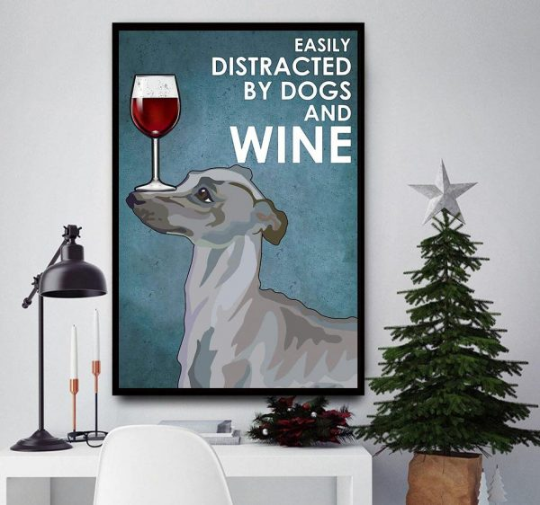 Greyhound easily distracted by dogs and wine canvas