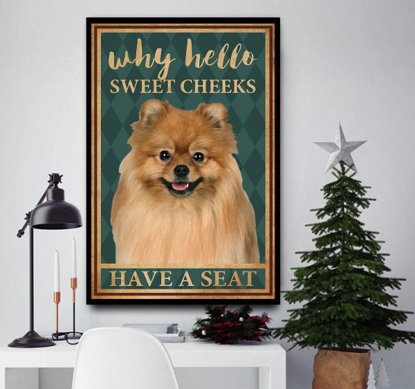 Pomeranian why hello sweet cheeks have a seat canvas